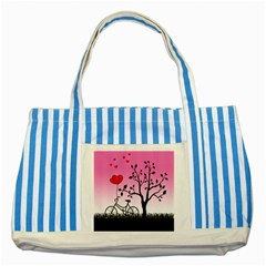Love Sunrise Striped Blue Tote Bag by Valentinaart