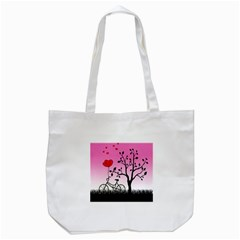 Love Sunrise Tote Bag (white) by Valentinaart