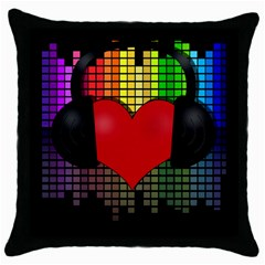Love Music Throw Pillow Case (black) by Valentinaart
