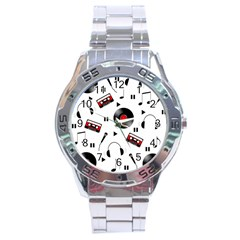Music Pattern Stainless Steel Analogue Watch by Valentinaart