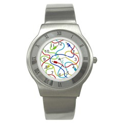 Colorful Audio Cables Stainless Steel Watch by Valentinaart