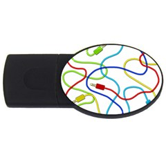Colorful Audio Cables Usb Flash Drive Oval (4 Gb)