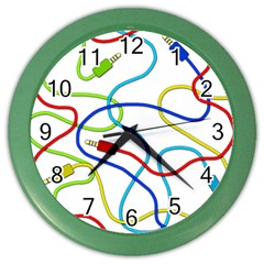 Colorful Audio Cables Color Wall Clocks by Valentinaart