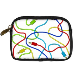 Colorful Audio Cables Digital Camera Cases by Valentinaart