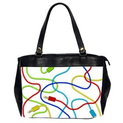 Colorful Audio Cables Office Handbags (2 Sides)  by Valentinaart
