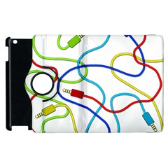 Colorful Audio Cables Apple Ipad 2 Flip 360 Case by Valentinaart