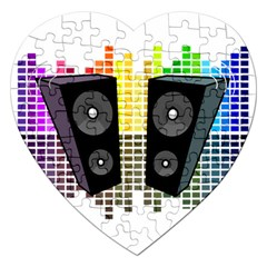 Loudspeakers   Transparent Jigsaw Puzzle (heart) by Valentinaart