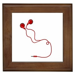Earphones  Framed Tiles by Valentinaart