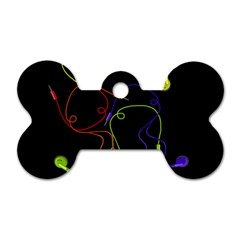 Colorful Earphones Dog Tag Bone (one Side) by Valentinaart