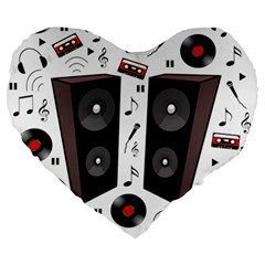 Loud Music Large 19  Premium Heart Shape Cushions by Valentinaart