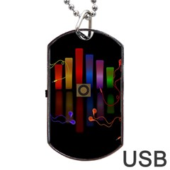 Energy Of The Sound Dog Tag Usb Flash (one Side) by Valentinaart