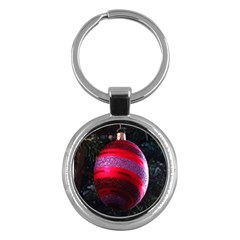 Glass Ball Decorated Beautiful Red Key Chains (round)  by Nexatart