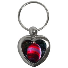 Glass Ball Decorated Beautiful Red Key Chains (heart)  by Nexatart