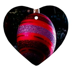 Glass Ball Decorated Beautiful Red Heart Ornament (two Sides) by Nexatart