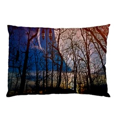 Full Moon Forest Night Darkness Pillow Case by Nexatart