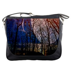 Full Moon Forest Night Darkness Messenger Bags by Nexatart