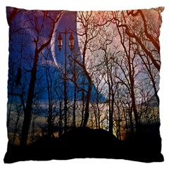 Full Moon Forest Night Darkness Large Cushion Case (two Sides) by Nexatart