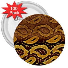 Golden Patterned Paper 3  Buttons (100 Pack)