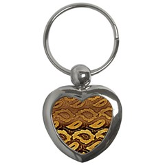 Golden Patterned Paper Key Chains (heart)  by Nexatart