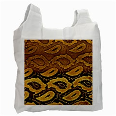 Golden Patterned Paper Recycle Bag (one Side) by Nexatart