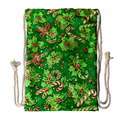 Green Holly Drawstring Bag (large)