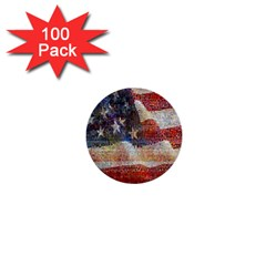 Grunge United State Of Art Flag 1  Mini Buttons (100 Pack)  by Nexatart