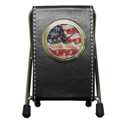 Grunge United State Of Art Flag Pen Holder Desk Clocks by Nexatart
