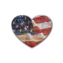 Grunge United State Of Art Flag Rubber Coaster (heart)