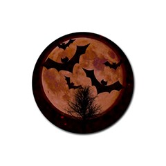 Halloween Card Scrapbook Page Rubber Round Coaster (4 Pack)  by Nexatart