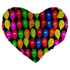 Happy Balloons Large 19  Premium Flano Heart Shape Cushions by Nexatart