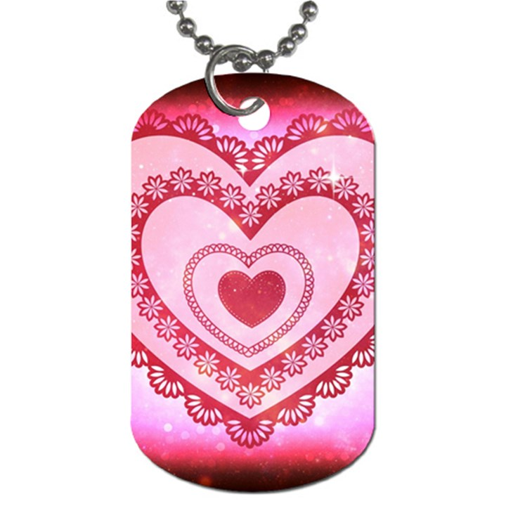 Heart Background Lace Dog Tag (One Side)