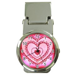 Heart Background Lace Money Clip Watches