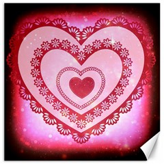 Heart Background Lace Canvas 12  X 12   by Nexatart