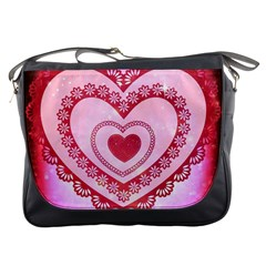 Heart Background Lace Messenger Bags