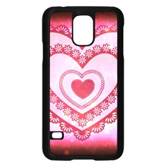 Heart Background Lace Samsung Galaxy S5 Case (black) by Nexatart