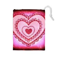 Heart Background Lace Drawstring Pouches (large)  by Nexatart