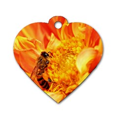 Honey Bee Takes Nectar Dog Tag Heart (two Sides)