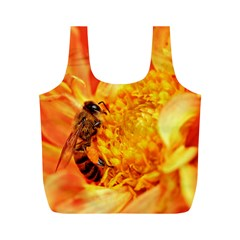 Honey Bee Takes Nectar Full Print Recycle Bags (m)