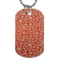 Holiday Snow Snowflakes Red Dog Tag (two Sides)