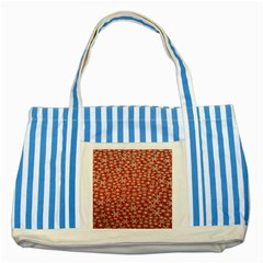 Holiday Snow Snowflakes Red Striped Blue Tote Bag by Nexatart