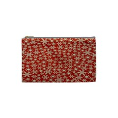 Holiday Snow Snowflakes Red Cosmetic Bag (small)  by Nexatart