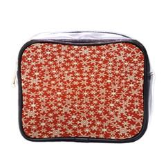Holiday Snow Snowflakes Red Mini Toiletries Bags