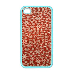 Holiday Snow Snowflakes Red Apple Iphone 4 Case (color)