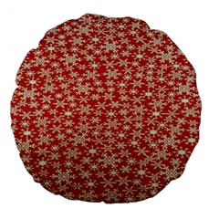 Holiday Snow Snowflakes Red Large 18  Premium Round Cushions by Nexatart