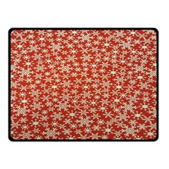 Holiday Snow Snowflakes Red Double Sided Fleece Blanket (small)