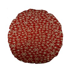 Holiday Snow Snowflakes Red Standard 15  Premium Flano Round Cushions by Nexatart