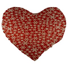 Holiday Snow Snowflakes Red Large 19  Premium Flano Heart Shape Cushions by Nexatart