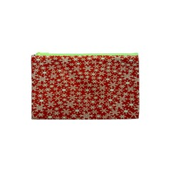 Holiday Snow Snowflakes Red Cosmetic Bag (xs) by Nexatart