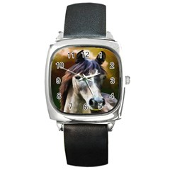Horse Horse Portrait Animal Square Metal Watch