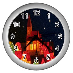 Market Christmas Light Wall Clocks (silver)  by Nexatart